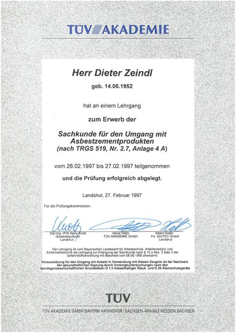 TÜV-Zertifikat – Asbestentsorgung