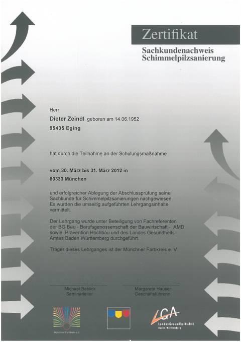 Zertifikat – Schimmelbekämpfung