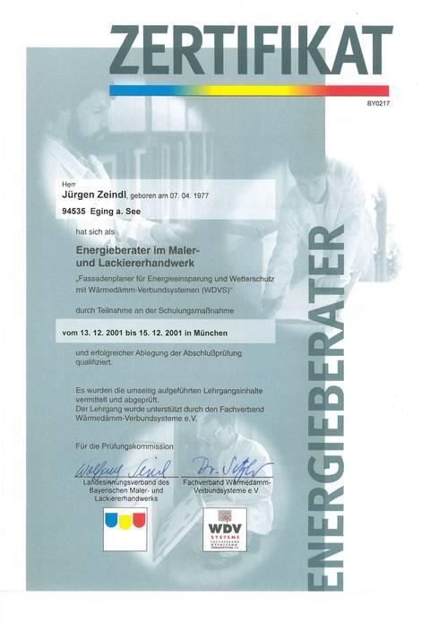 Zertifikat – Energieberatung